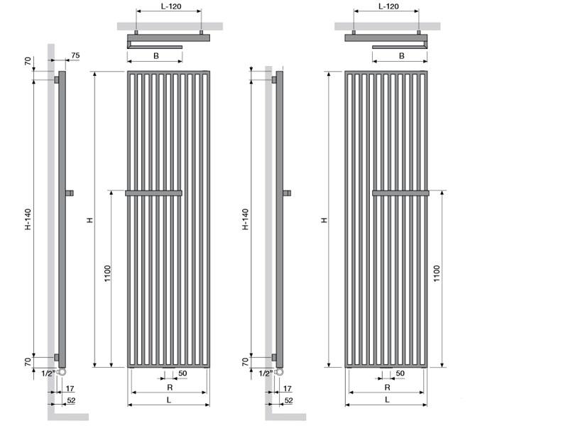 Arche Plus 2200 x 670 poręcz po prawej stronie - kolor biały