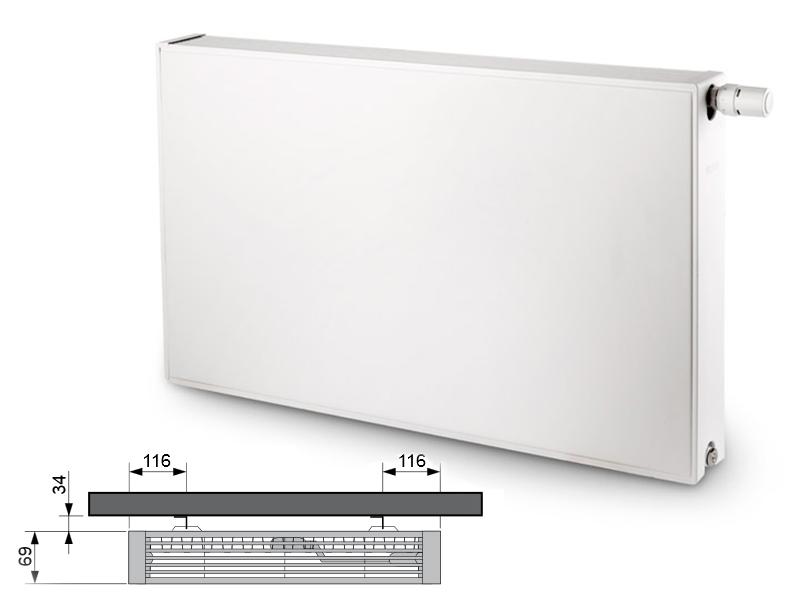 Flatline Typ 21s 400 x 600 kolor biały