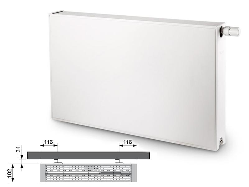 Flatline Typ 22 500 x 400 kolor biały